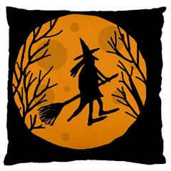 Halloween Witch   Orange Moon Large Cushion Case (two Sides) by Valentinaart