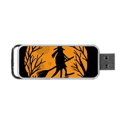 Halloween Witch   Orange Moon Portable Usb Flash (one Side) by Valentinaart