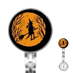 Halloween Witch   Orange Moon Stainless Steel Nurses Watch by Valentinaart