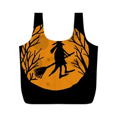 Halloween Witch   Orange Moon Full Print Recycle Bags (m)  by Valentinaart