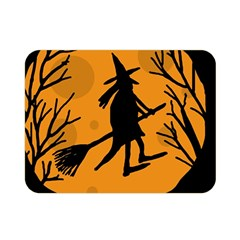 Halloween Witch   Orange Moon Double Sided Flano Blanket (mini)  by Valentinaart