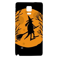 Halloween Witch   Orange Moon Galaxy Note 4 Back Case by Valentinaart