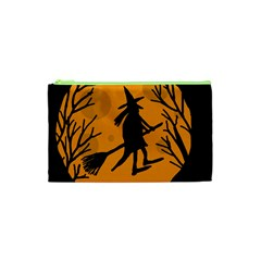 Halloween Witch   Orange Moon Cosmetic Bag (xs) by Valentinaart