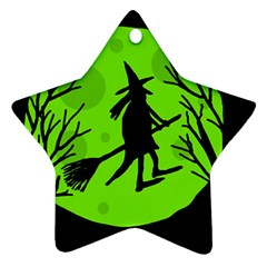 Halloween Witch   Green Moon Ornament (star)  by Valentinaart