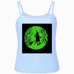 Halloween Witch   Green Moon Baby Blue Spaghetti Tank by Valentinaart