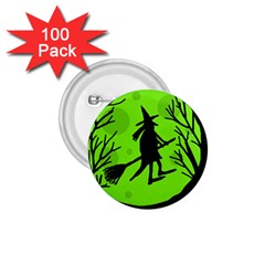 Halloween Witch   Green Moon 1 75  Buttons (100 Pack)  by Valentinaart