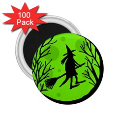 Halloween Witch   Green Moon 2 25  Magnets (100 Pack)  by Valentinaart