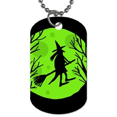 Halloween Witch   Green Moon Dog Tag (two Sides) by Valentinaart