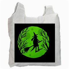 Halloween Witch   Green Moon Recycle Bag (one Side) by Valentinaart