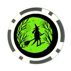 Halloween Witch   Green Moon Poker Chip Card Guards (10 Pack)  by Valentinaart
