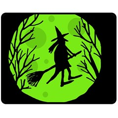 Halloween Witch   Green Moon Fleece Blanket (medium)  by Valentinaart