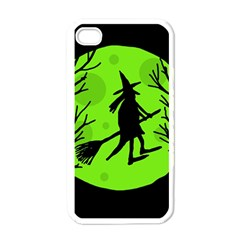 Halloween Witch   Green Moon Apple Iphone 4 Case (white) by Valentinaart