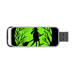Halloween Witch   Green Moon Portable Usb Flash (two Sides) by Valentinaart
