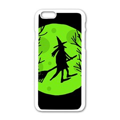 Halloween Witch   Green Moon Apple Iphone 6/6s White Enamel Case by Valentinaart