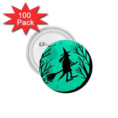 Halloween Witch   Cyan Moon 1 75  Buttons (100 Pack)  by Valentinaart