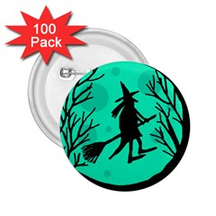 Halloween Witch   Cyan Moon 2 25  Buttons (100 Pack)  by Valentinaart