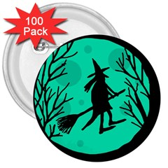 Halloween Witch   Cyan Moon 3  Buttons (100 Pack)  by Valentinaart