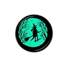 Halloween Witch   Cyan Moon Hat Clip Ball Marker by Valentinaart