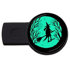 Halloween Witch   Cyan Moon Usb Flash Drive Round (4 Gb)  by Valentinaart
