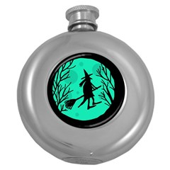 Halloween Witch   Cyan Moon Round Hip Flask (5 Oz) by Valentinaart
