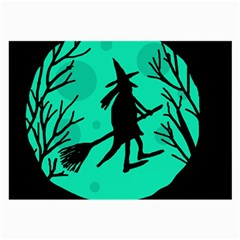 Halloween Witch   Cyan Moon Large Glasses Cloth (2 Side) by Valentinaart