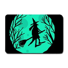 Halloween Witch   Cyan Moon Small Doormat  by Valentinaart