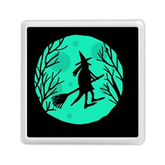Halloween Witch   Cyan Moon Memory Card Reader (square)  by Valentinaart