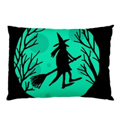 Halloween Witch   Cyan Moon Pillow Case (two Sides) by Valentinaart