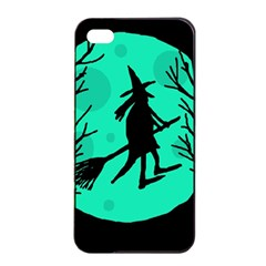 Halloween Witch   Cyan Moon Apple Iphone 4/4s Seamless Case (black) by Valentinaart
