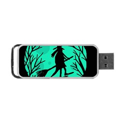 Halloween Witch   Cyan Moon Portable Usb Flash (two Sides) by Valentinaart