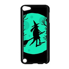 Halloween Witch   Cyan Moon Apple Ipod Touch 5 Case (black) by Valentinaart