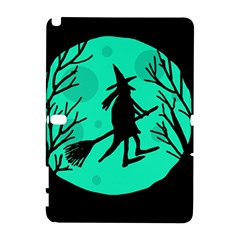 Halloween witch - cyan moon Samsung Galaxy Note 10.1 (P600) Hardshell Case by Valentinaart