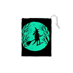 Halloween Witch   Cyan Moon Drawstring Pouches (xs)  by Valentinaart