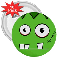 Halloween Frankenstein   Green 3  Buttons (10 Pack)  by Valentinaart