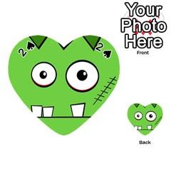 Halloween Frankenstein   Green Playing Cards 54 (heart)  by Valentinaart
