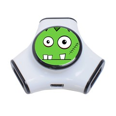Halloween Frankenstein   Green 3 Port Usb Hub by Valentinaart