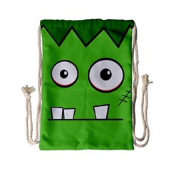 Halloween Frankenstein   Green Drawstring Bag (small) by Valentinaart