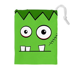 Halloween Frankenstein   Green Drawstring Pouches (extra Large) by Valentinaart