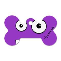 Halloween Frankenstein   Purple Dog Tag Bone (two Sides) by Valentinaart