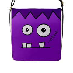 Halloween Frankenstein   Purple Flap Messenger Bag (l)  by Valentinaart