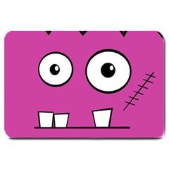 Halloween Frankenstein   Pink Large Doormat  by Valentinaart