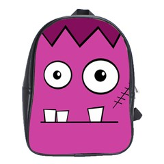 Halloween Frankenstein   Pink School Bags(large)  by Valentinaart