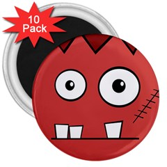 Halloween Frankenstein   Red 3  Magnets (10 Pack)  by Valentinaart