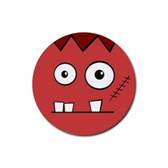 Halloween Frankenstein   Red Rubber Coaster (round)  by Valentinaart