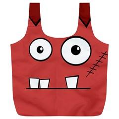 Halloween Frankenstein   Red Full Print Recycle Bags (l)  by Valentinaart