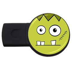 Halloween Frankenstein  Yellow Usb Flash Drive Round (2 Gb)  by Valentinaart