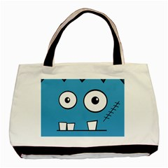 Halloween Frankenstein   Blue Basic Tote Bag (two Sides) by Valentinaart