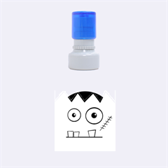 Halloween Frankenstein   Blue Rubber Round Stamps (small) by Valentinaart