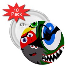 Halloween Monsters 2 25  Buttons (10 Pack)  by Valentinaart