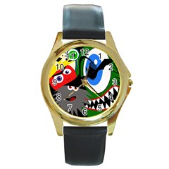 Halloween monsters Round Gold Metal Watch by Valentinaart